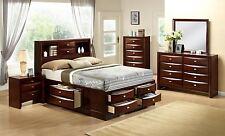 4 PIECE BEDROOM FURNITURE SET Platform Bed HEADBOARD Dresser Nightstand