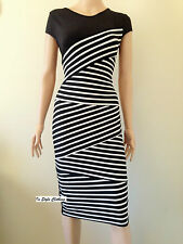 "LADIES ""JESSICA""BLACK WHITE STRIPE STRETCH DRESS, SZ 12-14 WORK COCKTAIL EVENING"
