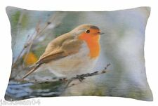 """FILLED EVANS LICHFIELD CHRISTMAS ROBIN COTTON MADE IN THE UK CUSHION 17"""" X 13"""""""