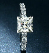 1.5Ct Princess Cut Diamond Solitaire Engagement Ring, Platinum Hallmarked