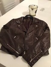 h&m brown faux leather biker jacket 8