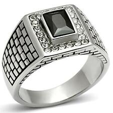 GIFT FOR MEN Size 9 R Stainless Steel Silver Tone Textured Black CZ Signet Ring