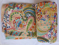 Indian Kantha Twin Quilt Handmade Patchwork Reversible Bedspread Blanket Throw`