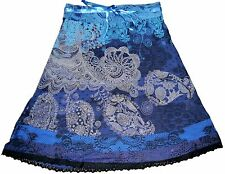 Desigual Romin Blue Skirt With Lovely Floral White Prints Size M