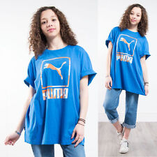 PUMA OVERSIZE 90'S BLUE CREW NECK SHORT SLEEVE T-SHIRT TOP CASUAL FIT SPORTS 20