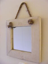 Wall Hanging Small Rope Mirror / Rustic Solid Wood Square Mirror / White Finish