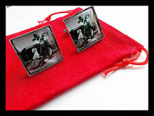 James Dean LizTaylor Silver Cufflinks 50s B/W Giant Film clip 20mm UK SELLER