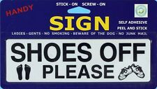`SHOES OFF PLEASE` Sign with Picture Self Adhesive or Screw On Plastic - Door