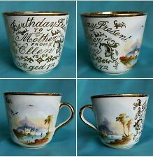 Antique Victorian gold gilt birthday hand painted porcelain tea cup 1893