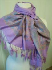New design pashmina scarf with paisley border in lilac, pink, peach, blue