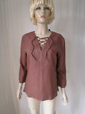 Stewarts brown linen mix lace up neck tunic top Size 14