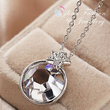 18K White Gold Plated Simulated Glass Crystal Clear Round Shaped Star Necklace