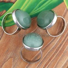 1x Silver Plated Green Aventurine Stone Oval From Adjustable Finger Ring Jewelry