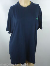 ☆ SLAZENGER Mens Navy Blue Embroidered Short Sleeved T-Shirt Top Size XL ☆