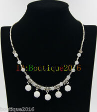 Fashion Women Tibetan Silver white jade Pendant Necklace Costume Jewellery Gift