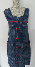 INES - BLUE /RED/WHITE SPOTTED SLEEVLESS UTILITY 100% COTTON Mini dress size 44