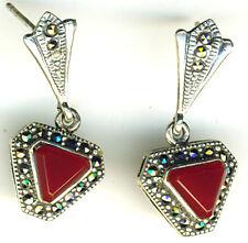 """925 Sterling Silver Carnelian & Marcasite Drop / Dangle Earrings Length 1.1/8"""""""