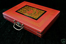 Mahjong in Leather case Antique look Ceramic playing Hong Kong style Tiles