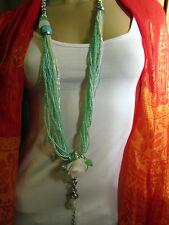 Damen Hals Kette lang Modekette Modeschmuck Türkis Mint Weiss Silber Perlen Edel