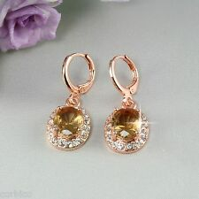 E3 OCCASION 18K ROSE GOLD PLATED DANGLE EARRINGS CHAMPAGNE ZIRCONIA CRYSTAL