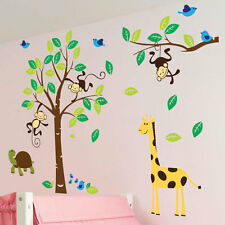 Monkey Tree Birds Animal Nursery Children Kids Art Wall Stickers Wall Decals 23