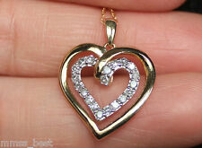 "NEW 10K 1/4ct Diamond Double Heart Love Pendant Necklace 18"" Chain Yellow Gold"