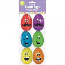 Large Plastic Funny Face Fillable Easter Egg Hunt Decorations x 6