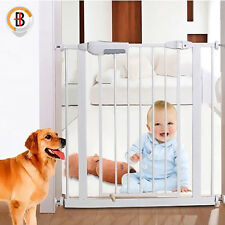 Adjusted Baby Pet Child Safety Security Gate Stair Barrier Auto Swing Door White