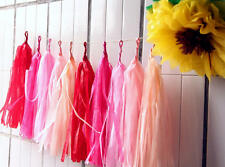 """25x 14"""" Pink Red Mixed Tissue Tassels Paper Garland Wedding Event Party Decorate"""