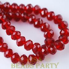 Hot 10pcs 12X8mm Crystal Glass Rondelle Faceted Loose Big Beads Deep Red