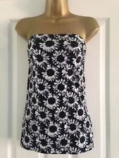 BNWT Papaya Black White Floral Print Strapless Bandeau BoobtubeTop Size 10