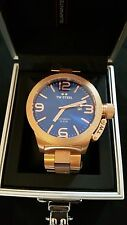 TW Steel Mens Gold Quartz Automatic 50mm Watch Blue Big Crystal Saphire RRP £570