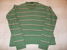 PAUL SMITH JUMPER V-NECK - GREEN & BLUE/BROWN STRIPED - SIZE XL (SOFT COTTON)