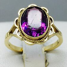 """VINTAGE STYLE 9CT YELLOW GOLD AMETHYST COCKTAIL DRESS RING SIZE """"L"""" 466"""