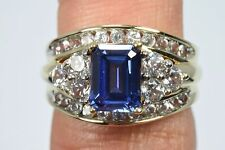 Women's 2.82 ct Tanzanite & White Sapphire Cluster Engagement Ring 10k Gold