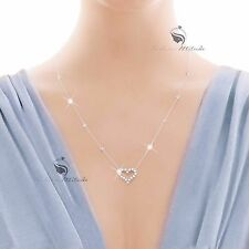 18K WHITE GOLD GP SWAROVSKI CRYSTAL LOVE HEART PENDANT NECKLACE