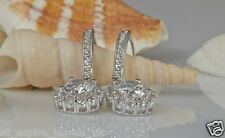 2.00CT ROUND DIAMOND BRIDAL DROP DANGLE EARRINGS IN 14CT SOLID WHITE GOLD