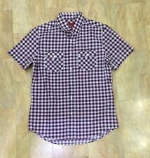 Mens Topman Purple And White Checked Gingham Short Sleeve Casual Shirt Size M