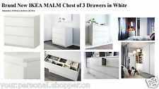 """Brand New """"IKEA MALM"""" Chest of 3 Drawers Bedside Tables Bedroom"""