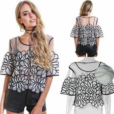 Fashion Womens Ladies Summer Short Sleeve Casual Blouse Loose Lace Tops T Shirt