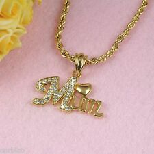 N3 18K Gold Filled Mum Pendant Necklace with Swarovski Crystals -  Gift boxed