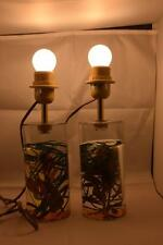 STUNNING PAIR OF RESIN TABLE LAMP BASES WITH LEAVES INSIDE