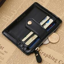 Luxury Women Mini Leather Zipper Credit Card ID Holder Ladies Money Clip Wallet