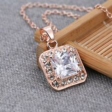 Luxury Jewellery Stud Square Rose Gold Filled Crystal Pendant Choker Necklace
