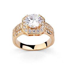 VINTAGE INSPIRED LARGE 18K GOLD PLATED GENUINE CZ AND SWAROVSKI CRYSTAL RING