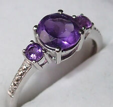 3-stone Amethyst ring (total 1.400ct), platinum overlay Sterling Silver, size Q
