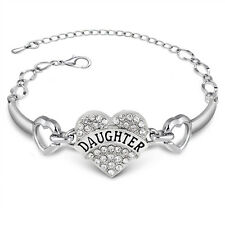 Fashion Jewelry Clear Crystal Love Heart Bracelet Charm Bangle Daughter's Gift