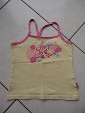 Top T-Shirt gelb mit pink - Glitzer-Frontdruck – Stretch - 128 134 140