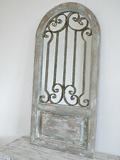 BEAUTIFUL RUSTIC WROUGHT IRON & WOODEN STYLE HOME OR GARDEN MIRROR  (4178)