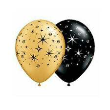 Party Supplies Wedding Sparkles & Swirls Gold & Black Latex Balloons Pack of 10